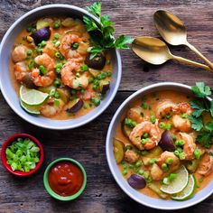 I've been really craving a dish like this and fortunately I had everything in the house to toss it together. I was really happy with the flavours that were developed in less than 60 minutes. Seafood Stew, Cook At Home, Freezer Meals, Cravings, Shrimp, Chili, Salsa, Curry, Soup