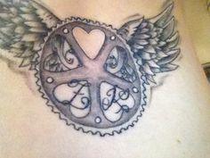 Wings bike cycle tattoo