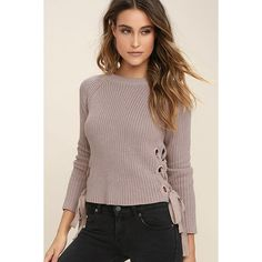 Good-Natured Beige Lace-Up Sweater ($45) ❤ liked on Polyvore featuring tops, sweaters, beige, round neck sweater, eyelet top, beige knit sweater, knit sweater and beige sweater