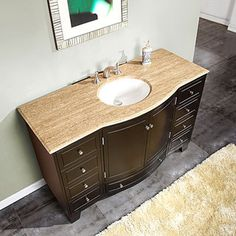 @Overstock.com - Silkroad Exclusive 55-inch Travertine Stone Top Bathroom Vanity - Get lots of space for storage with this charming bathroom vanity with a top. The vanity has nine hidden drawers to keep your items private and a shelf for extra storage space. It's made of natural stone and solid wood for style and durability.  http://www.overstock.com/Home-Garden/Silkroad-Exclusive-55-inch-Travertine-Stone-Top-Bathroom-Vanity/8111066/product.html?CID=214117 $1,407.99