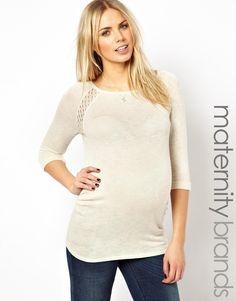 New Look Maternity   New Look Maternity Lace Insert Sweater at ASOS