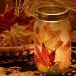 autumn crafts leaf jar! There are a lot of fun craft ideas on this page but this was my favorite! I made these with my kids and they turned out really cool and the kids could do all the steps themselves.