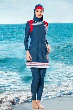 Alvina-too short but otherwise nice. Islamic Fashion, Muslim Fashion, Modest Fashion, Hijab Fashion, Fashion Outfits, Modest Outfits, Sport Outfits, Sports Hijab, Muslim Swimwear
