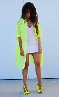 white dress + neon cover up + neon heels