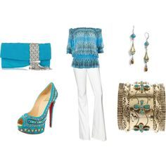 Rachel Zoe Bootcut Jeans with Aqua Gypsy Print Top: AWESOME heels!