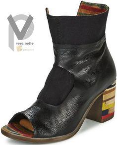Vera Pelle Stiefeletten 8cm Damen Stiefel Boots Echtleder Schwarz Apropos