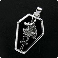 Egyptian Silver Jewelry God Anubis Ankh Shield Pendant