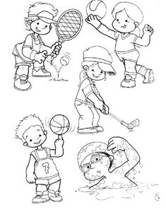 For kids, sports coloring pages, theme sport, art for kids, worksheet Sports Coloring Pages, Coloring For Kids, Colouring Pages, Coloring Sheets, Pinterest Template, Theme Sport, Sports Clips, Sports Day, Kids Sports