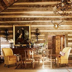 Rustic, rambling and refined cabin chic - The Enchanted Home Big Sky Lodge, South Shore Decorating, Cabin Decorating, Tuscan Decorating, Interior Decorating, Decorating Ideas, Decor Ideas, Southern Accents, Southern Charm