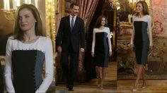 La Reina Letizia rescata un vestido tricolor de Felipe Varela de 2015 qu...
