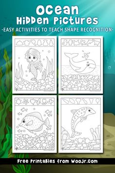 Ocean Hidden Pictures Printables to Teach Shape Recognition Road Trip Activities, Ocean Activities, Animal Activities, Color Activities, Printable Activities For Kids, Summer Activities For Kids, Crafts For Kids, Hidden Pictures Printables, Sea Animal Crafts