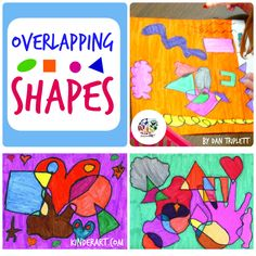Overlapping Shapes Art Lesson Plan for Elementary School - Children's Art Elementary Art Lesson Plans, Kindergarten Art Lessons, Art Lessons For Kids, Elementary Art Education, Teaching Shapes, Teaching Art, Teaching Ideas, Kindergarden Art, Line Art Lesson