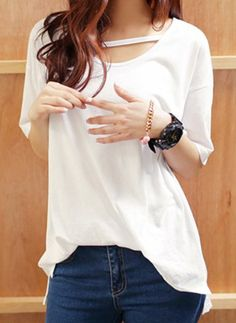 $7.46 Chic Style Scoop Neck Irregular Hem Solid Color Short Sleeves Twinset For Women
