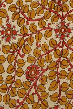 Handloom cotton fabric with kalamkari print Kalamkari Fabric, Kalamkari Painting, Kalamkari Designs, Printing On Fabric, Cotton Fabric, Cushions, Paintings, Kitchen, Art