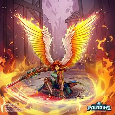 """""""🔥Did someone order fire with a side of burning town? Furia's got ya. Card I painted for Paladins Overwatch, Paladins Game, Paladins Of The Realm, Paladins Champions, Human Reference, Art Reference, Dragons, Rhysand, Wallpaper Pc"""