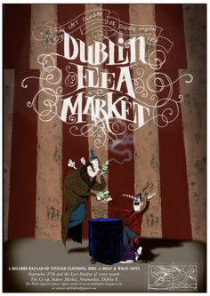market poster - Google Search  Use of white lettering