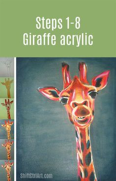 Here is a giraffe I have been painting in class. I used an image from a stock photo site as inspiration. For fun, I took some step by step image with my Iphone as I painted it. This took several weeks of classes. Here are the steps: