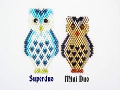 Tutorial Superduo OWL Pendant. Pattern to por ButterflyBeadKits