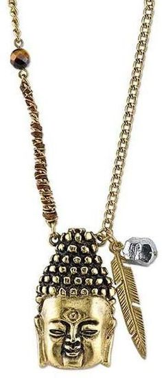 Ice 14K Gold-Dipped Buddha Head Necklace with Waxed Linen Wrapped Chain
