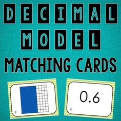 FREE Decimal Model Matching Cards-- fun math small group or centers activity
