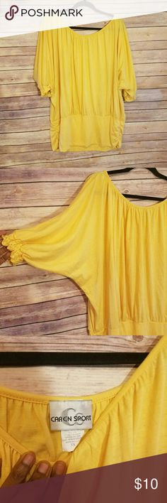 CAREN SPORTY Yellow Blouse Plus size 3x Worn in great condition 65% polyester 35% rayon Caren sport Tops Blouses