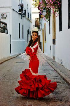 Vestido de gitana rojo y blanco