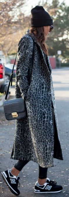 Grey Leopard Long Line Coat by Scent Of Obsession  I LOVE THE SNEAKERS WITH THAT FANCY COAT