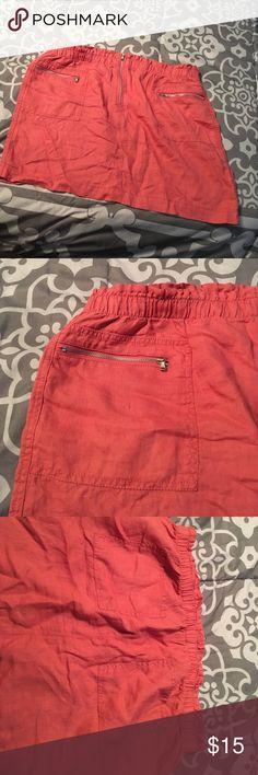 Lou & Grey linen skirt NWOT linen skirt terra cotta color. Never worn. Lou & Grey Skirts