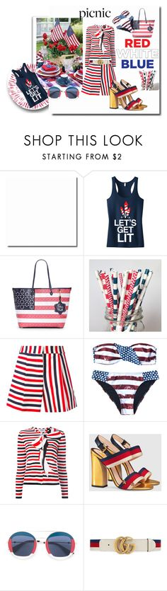 """""""FourthofJuly Picnic"""" by kelly-floramoon-legg ❤ liked on Polyvore featuring Draper James, Thom Browne, Gucci and fourthofjuly"""