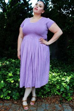Plus Size - Vintage Lavender Thermal & Crinkled Gauze Empire Waist Dress by TheCurvyElle, $45.00