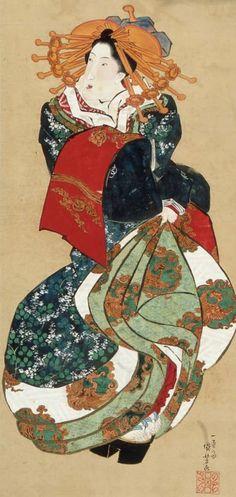 Courtesan, main detail from a painting on silk hanging scroll. 1830-1844, by artist Utagawa Kuniyoshi.  MFA (WilliamSturgis Bigelow Collection)
