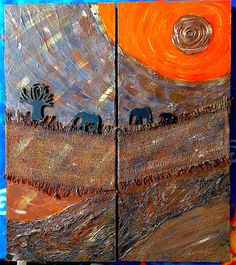 African Sunset Mixed Media on Wooden Canvas Art of Creativity Studio African Sunset, Studio Art, Art Studios, Handmade Art, Art Projects, Mixed Media, Creativity, Arts And Crafts, Community