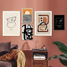 Trendy Abstract Geometric Canvas Paintings Interior Wall Art Poster and Print Vintage Pictures for Living Room Home Decorations Geometric Wall Art, Abstract Wall Art, Painting Abstract, Abstract Lines, Spray Painting, Canvas Art Prints, Canvas Wall Art, Canvas Paintings, Canvas Paper