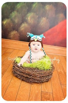 SET Lime Green Fur & Wood Branch Nest Owl Bird Photography Prop Newborn Baby - Beautiful Photo Props