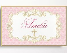 Christening Backdrop Baptism Sign Pink Gold by WestminsterPaperCo