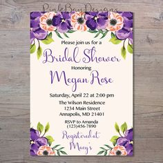 Hey, I found this really awesome Etsy listing at https://www.etsy.com/listing/494362416/purple-floral-bridal-shower-invitation