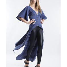 Flutter Sleeve Kimono Maxi Duster Cardigan Top Slate blue maxi cardigan or top. Button front closure. Perfect for cooler weather. Pair with your favorite pair of leggings. Brand new with tags. True to size. This is an actual pic of the item - all photography done personally by me. Bare Anthology Tops