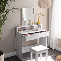 White Dressing Tables, Dressing Table Mirror, Makeup Table With Mirror, Makeup Vanity Set, Table Height, Large Drawers, New Room, Bedroom Decor, Bedroom Ideas