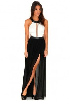 Missguided - Imogen Contrast Mesh Panel Maxi Dress