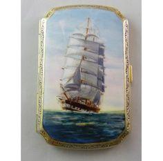 Hand Painted Enamel Sailing Ship Cigarette Case