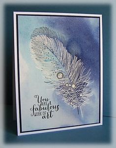 PTI Feather Finery, distress reinkers, watercolors, doodledop at splitcoaststampers
