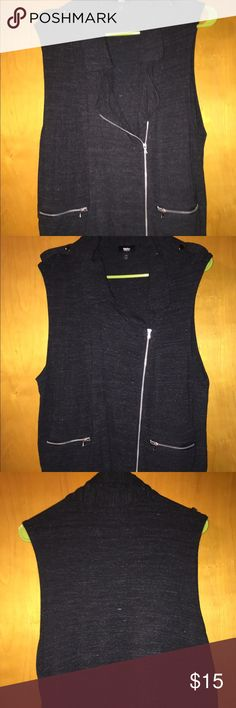 Target Mossimo brand vest Rocker chic dark grey sweater material vest.. Purchased at target. Mossimo brand. Size XL.. Two front pockets. Great used condition Mossimo Supply Co Jackets & Coats Vests