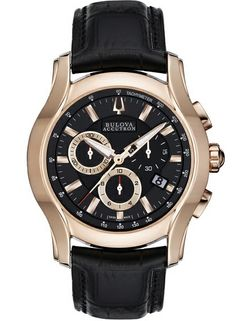 From Switserland gold coloured Bulova men's watch with black leather strap. From €730 for €365. See more at - http://www.megawatchoutlet.com/heren/bulova.html