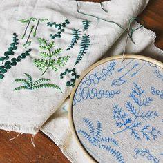 植物の形はとっても面白い。 いろいろなシダの形をちくちくと。 * * * #植物#植物好き#植物大好き#植物の形#刺繍#植物刺繍#刺繍部 #ハンドメイド#丁寧な暮らし#ナチュラル#インテリア#ガーデナー#instagram #instagramjapan #instagood #love #art#cute #happy#green #gardener #handmade #interior