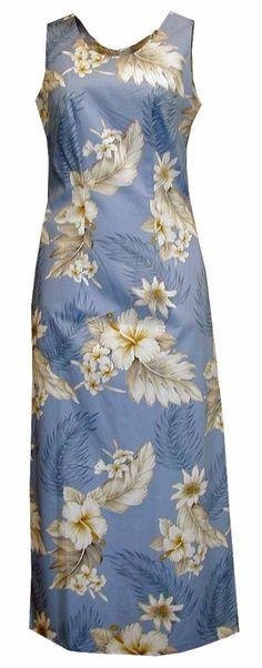 Hibiscus Dream Ladies Long Hawaiian Print Tank Dress Blue, Womens Tropical Hawaiian Dresses Shirts Clothing, 321-3162-Blue - Paradise Clothing Company