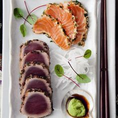 tuna and salmon tataki