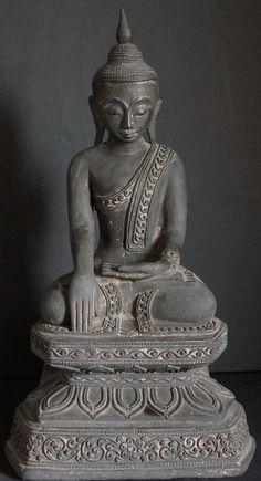19th Century Burmese Shan Hollow Lacquer Buddha Statue