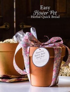 This is a fun gift to make. Just gather ingredients for a quick bread and place them in a plastic bag inside a flower pot. Add a tag with instructions to make Bread in a Flower Pot.