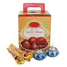 Gulab Jamun, Chocolates & Diya