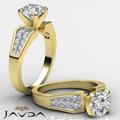 1.78ct Round Invisible Diamond Women's Engagement Ring GIA F VS2 14k Yellow Gold